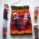 6x Large Guatemalan Worry Dolls in POUCH - Hand Made Mayan Trouble Doll