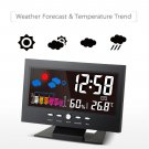 Digital Temperature Humidity Meter Alarm Clock Thermometer Calendar Weather Forecast