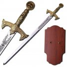 Knights Templar Sword With Wall Plaque Gold