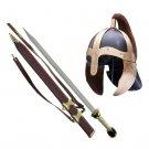 Roman Gladiator Helmet and Gladiator - Gold Sword