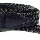 Men's Genuine Leather Braided Belt Black or Brown New