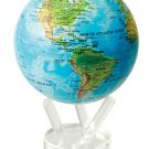 """MOVA  Blue With Relief  Map Rotating Motion Globe  6"""" Satellite Spinning Turns"""