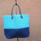 Navy & Sky Blue Straw Shopper Beach Gym Tote Bag  Handbag  Purse Big Large New