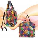 Genuine Leather Multi-Color Backpack Cross Body Purse Handbag Crossbody 2 in 1