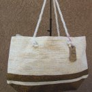 Brown & Gray Metalic Straw Shopper Beach Gym Tote Bag  Handbag  Purse Big Large