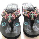 Montana West Flip Flops Child  Sandals Turquoise Cross Rhinestones Black