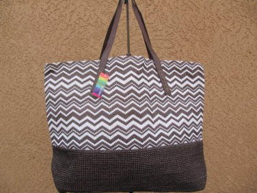 Brown & White Chevron Straw Shopper Beach Gym Tote Bag Large Handbag Big Purse