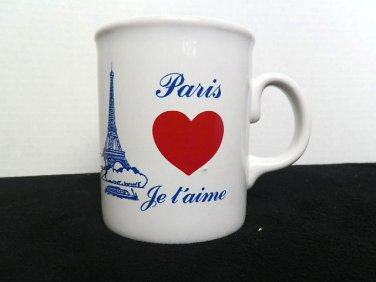Love PARIS JE T'AIME  Eiffel Tower Coffee Mug Tea Cup