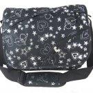 Black Messenger Sling  School Pack Bag Hearts Stars 124