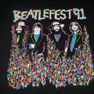 Vintage Beatlefest '91 1991 Black T-Shirt - Size LARGE Made In USA The Beatles