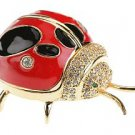 Ladybug 24K Enameled Trinket Box Austrian Crystals  New