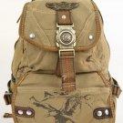 Canvas Backpack Olive Eagle Design Rusksacks Daypack Old School Bag Heavy Duty