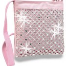 Rhinestone Design Pink Layered Cross Body Sling Handbag Messenger Bling Purse