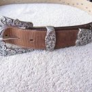 Tony Lama Kaitlyn Crystal  Belt Brown Genuine Leather Western Rhinestones  sz 36