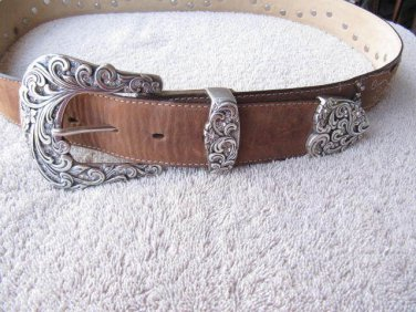 Tony Lama Kaitlyn Crystal  Belt Brown Genuine Leather Western Rhinestones  sz 36
