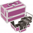 Makeup Train Case Cosmetic Organizer w/ Mirror 3 Trays PURPLE Aluminum Jewelry