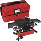 SOFT SIDED MAKEUP COSMETIC TRAIN CASE Red 4 Shelves Make Up Professional