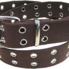Canvas 2 Hole With Silver Grommet Belt in Brown XS - XL