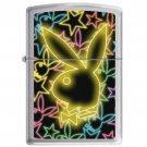 ZIPPO Playboy Glowing Stars 852904 Free Ship NEW Lighter Bunny Brushed Chrome