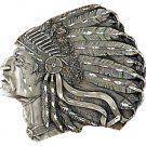 """Indian Head Belt Buckle, Diamond Cut 3-1/2"""" x 3""""  Free Shipping New Made In USA"""