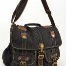 Canvas Messenger Sling Bag Black Rusksacks Daypack School Old School Heavy Duty
