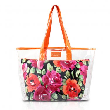 Large Clear Orange Shopper Beach Gym Tote Bag Black Floral Insert Handbag Purse