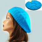 BLUE Crochet  Knitted Tam Hat  Free Shipping Beret  Winter Cap Woman's Ladies