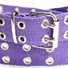 Canvas 2 Hole With Silver Grommet Belt In PURPLE