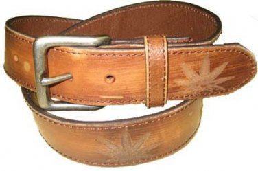 Genuine Distressed Leather Belt Worn Look POT Leaf  NEW