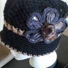Black Knitted Hat 3D Diamond Flower Women Winter  Crochet  Fashion  Fall Tan