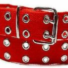 Canvas 2 Hole With Silver Grommet Belt In RED  XS- XL