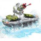 RC Amphibious Tank Silver TB83B Silver Remote Control Land Water Shoots Missles