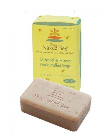 The Naked Bee Oatmeal Honey Triple Milled Soap 2 Bars Orange Blossom Honey NEW