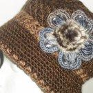 BROWN  Knitted Hat 3D Diamond Flower Women Winter  Crochet  Fashion  Fall Beanie
