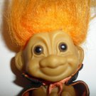 "Russ Troll Doll Cape Orange Hair Clenched Hands Moveable Head 3"" Inches Vintage"