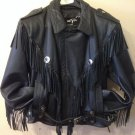 Open Road Leather Motorcycle Jacket Fringe Biker Thinsulate Large Black Vintage