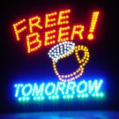 Free Beer Tomorrow Motion LED Sign 19 X 19 Hanging Kit Man Cave Light ManCave