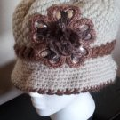 Khaki Brown Knitted Hat 3D Diamond Flower Women Winter  Crochet  Fashion  Fall