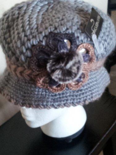 Gray Knitted Hat 3D Diamond Flower Women Winter  Crochet  Fashion  Fall Grey