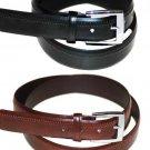 "Men's Black or Brown Leather Belt Side Zipper Stitch Design Dress Casual 1 1/4"""