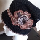BLACK  Knitted Hat 3D Diamond Flower Women Winter  Crochet  Fashion  Fall Beanie