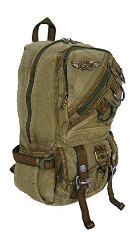 Olive Canvas Eagle Design Backpack Rusksacks Daypack School Bag Multipurpose New