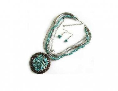 Turquoise Cluster Necklace W/ Matching Earrings  Free Shipping Fashion Jewelery
