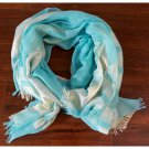 Scarf With Lurex Woven Pattern Turquoise Fashion Wrap