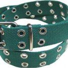 Canvas 2 Hole With Silver Grommet Belt in Green  XS-XL