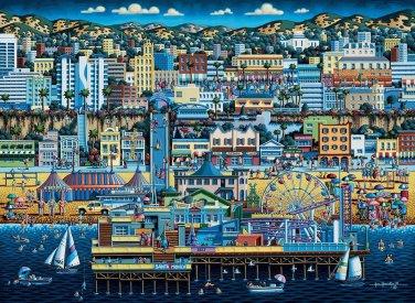 Santa Monica 1000pc 19x26 Jigsaw Puzzle Eric Dowdle Folk Art  Made In USA Calif