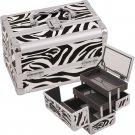 Makeup Train Case Cosmetic Organizer w/ Mirror 3 Trays ZEBRA  Aluminum Jewelry