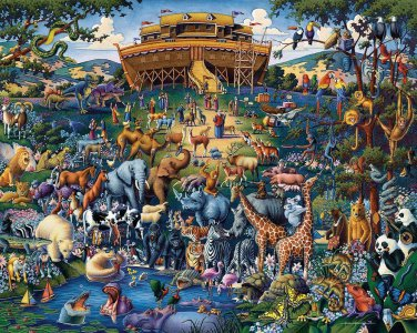 NOAH'S ARK 100pc 16x20 Jigsaw Puzzle Eric Dowdle Folk Art KIDS Children Easy NIB