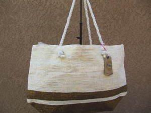 Brown & Gold Metalic Straw Shopper Beach Gym Tote Bag  Handbag  Purse Big Large