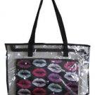 Large Clear Black Accents Shopper Beach Gym Tote Bag LIPS  Insert Handbag Purse